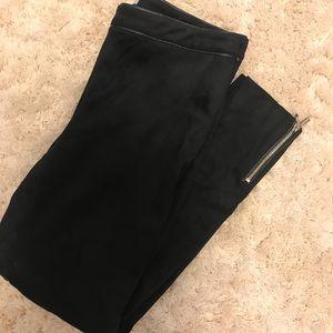 Black Suede Skinny Pants